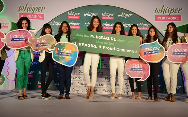 Whisper india encourages girls to be unstoppable 'like a girl'